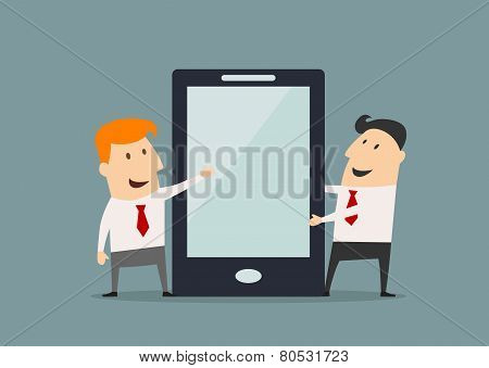 Cartoon businessmen with huge smartphone in flat style