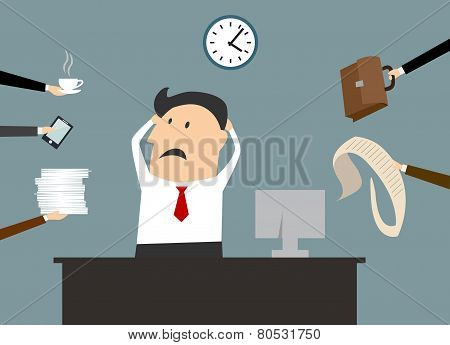 Stressed cartooned businessman