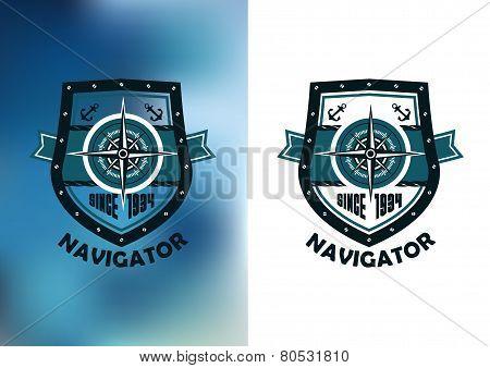Vintage marine navigator label or emblem
