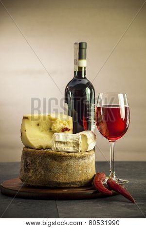 Wine and different cheese