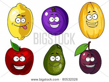 Cartoon apple, plums, melon, lemon and avocado fruits characters