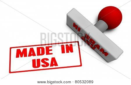 Made in USA Stamp or Chop on Paper Concept in 3d