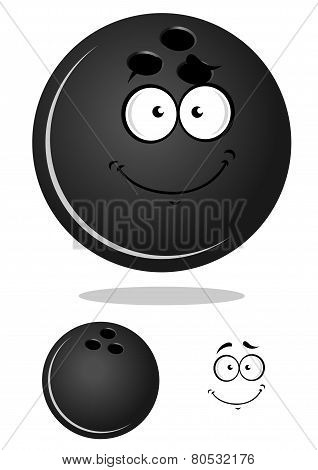 Dark gray cartoon bowling ball