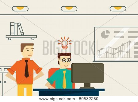 Businessman Get An Idea. Business Analytics And Solution