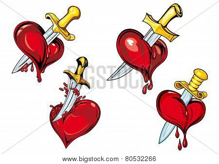 Cartoon heart with dagger tattoo design elements