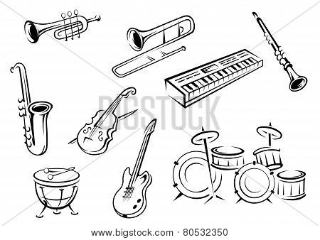 Outline strings, wind, keyboard and percussion instruments