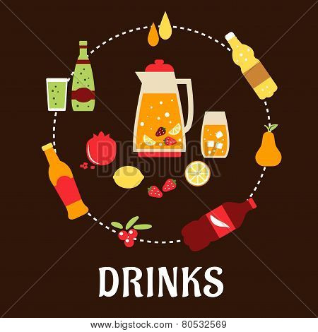 Beverages and drinks flat composition