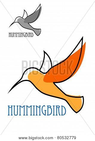 Flying orange hummingbird in outline sketch style