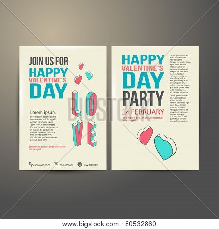 Brochure Flyer Happy Valentine's Day design vector template.