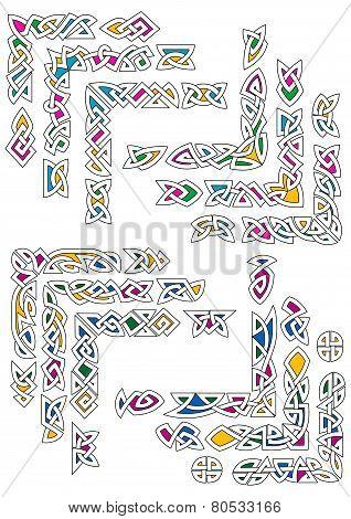 Celtic ornamental corners with colorful segments