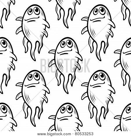 Seamless pattern with cute cartoon monster character