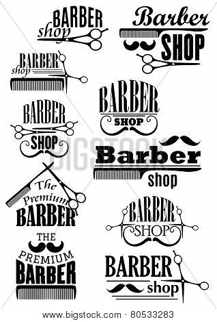 Black vintage barber shop logo and emblems