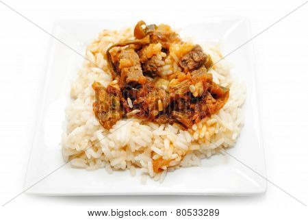 Beef & Veggie Stir Fry Served On Rice