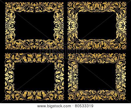 Golden floral frames on black background