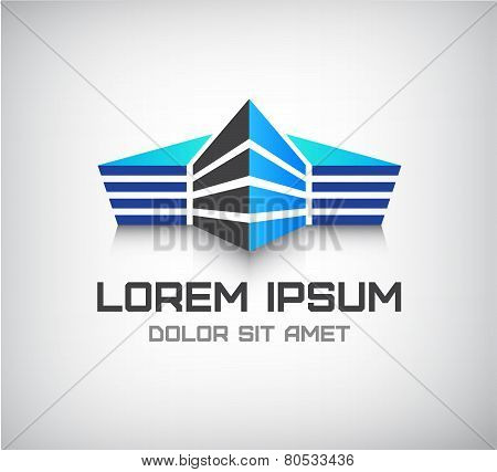 vector 3d office building, house icon, logo