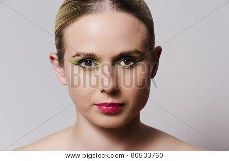 fashion portrait of a blonde woman horizontal