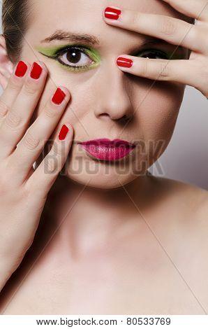 fashion portrait of a blonde woman vertical