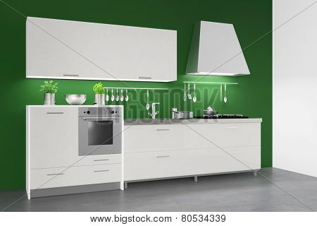 Modern fitted kitchenette in kitchen on a green wall (3D Rendering)