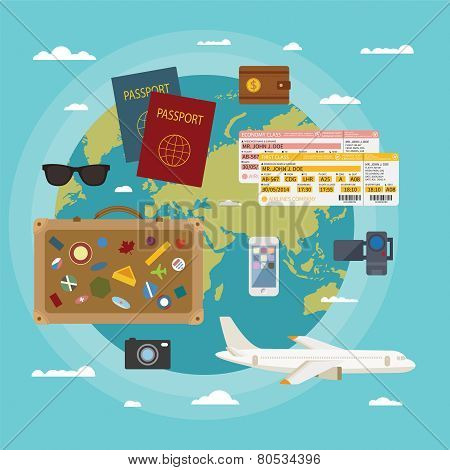 Vector Modern Flat Style Concept For Tourism Industry.
