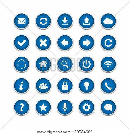 Blue Round Web Buttons