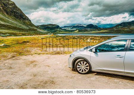 Car On Roadside,  Norwegian Mountain Landscape