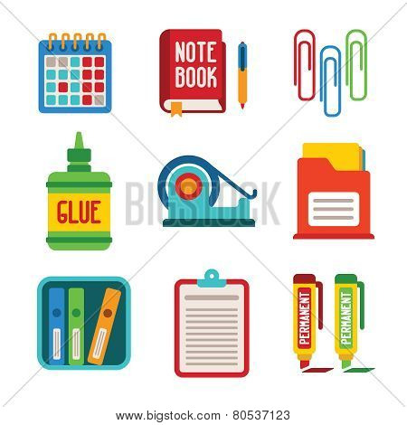 Set Of Vector Colorful Office Icons In Flat Style