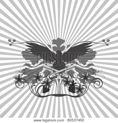 Background Pattern And An Eagle With Guns