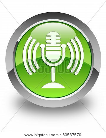 Microphone Icon Glossy Green Round Button