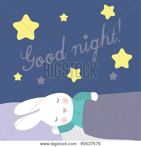 Cute bunny is sleeping under the stars