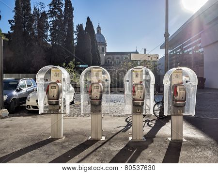 Four Public Telephones In A Row, Rome