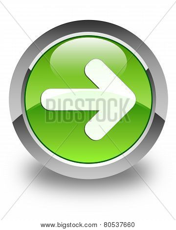 Next Arrow Icon Glossy Green Round Button