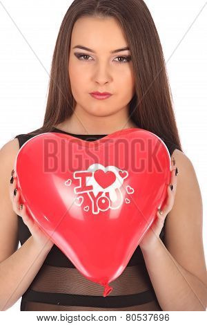 Valentines Beautyfull Girl With Balloon Heart In Her Hands