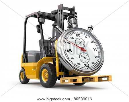 Forklift truck with stopwatch .Express delivery concept. 3d