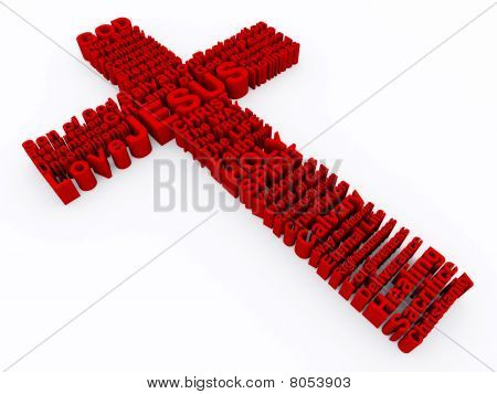 Red Cross made up of 3D words