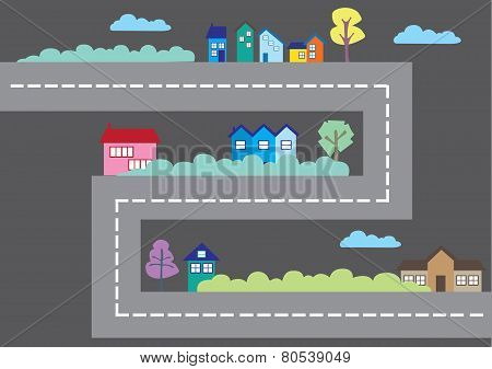 Colorful Houses Along Road Cartoon City Map Vector Illustration