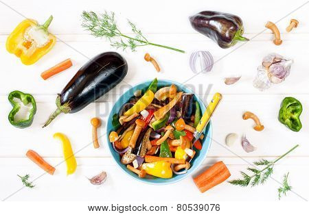 Eggplant And Mushrooms Saute