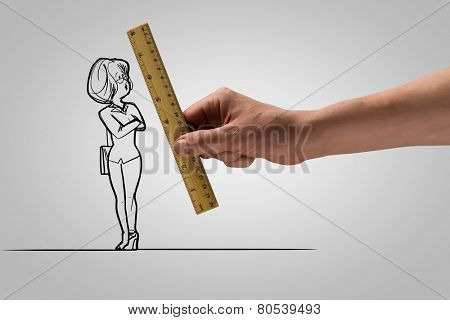 Human hand measuring with ruler caricature of businesswoman
