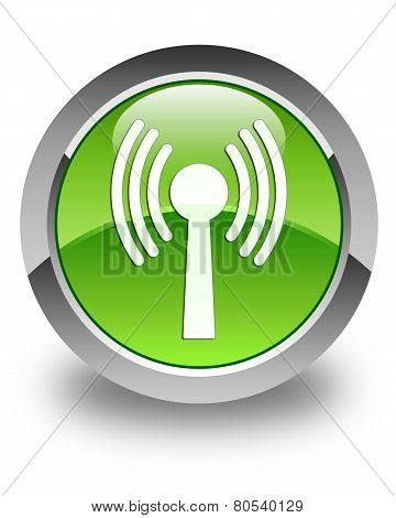 Wlan Network Icon Glossy Green Round Button
