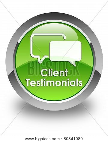 Client Testimonials Glossy Green Round Button