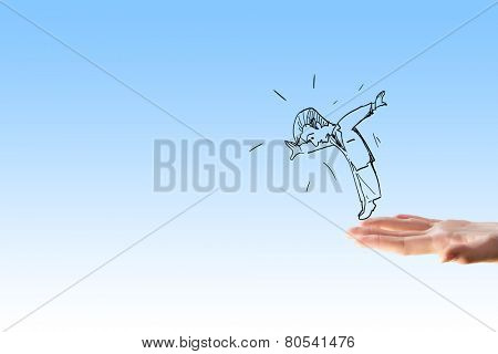 Caricature of falling businessman caught by human hand