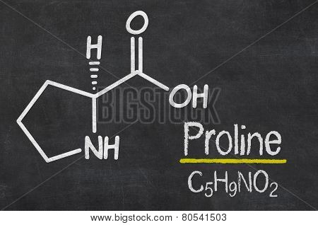 Blackboard with the chemical formula of Proline