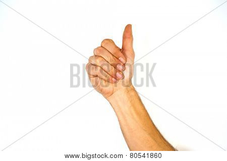 Male hand giving a thumbs up gesture of approval and success with the bent fingers and palm towards the camera and arm raised, isolated on white