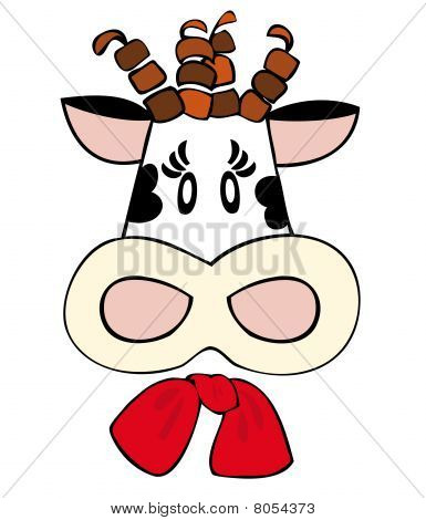 Dairy cow with red bow.