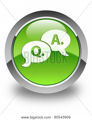 Question Answer Bubble Icon Glossy Green Round Button