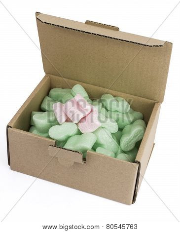 Packaging Box With Green Foam And Some Pink Ones