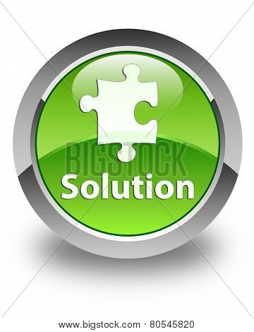 Solution Icon Glossy Green Round Button