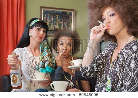 Three Friends Smoking And Drinking