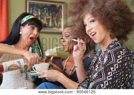 Ladies Laughing And Drinking Booze