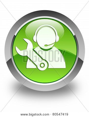 Tech Support Icon Glossy Green Round Button