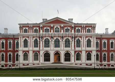 Jelgava Palace also known as Mitava Palace designed by Russian Baroque architect Bartolomeo Rastrelli in Jelgava, Latvia.